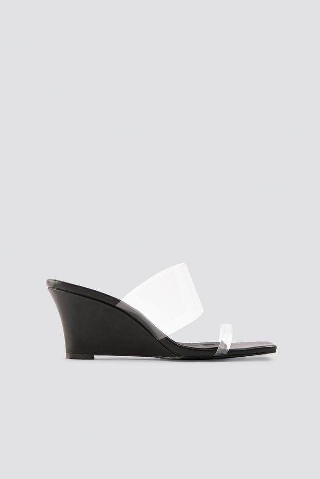 Transparent Wedge Heel Sandals Black