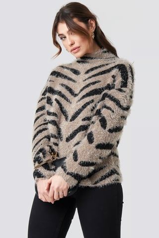 beige/Black Hairy Zebra Knitted Sweater