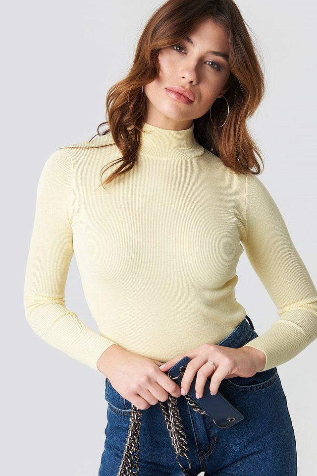 Ribbed Polo Knitted Sweater Light Yellow