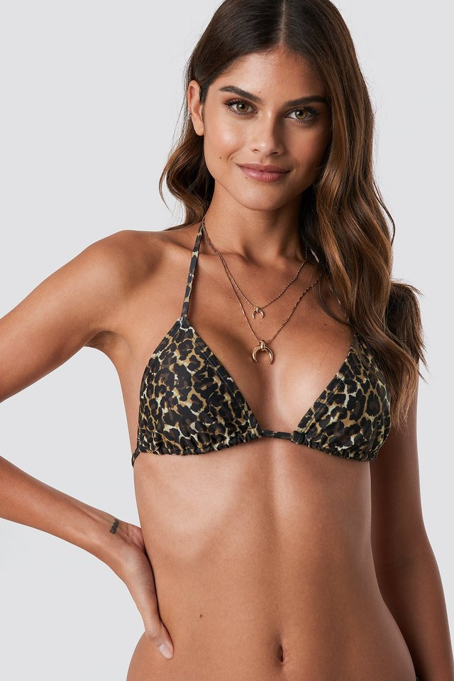 Dark Leo Print Triangle Bikini Top