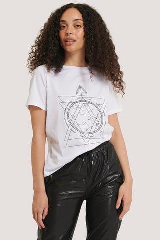 White T-Shirt Mit Aufdruck