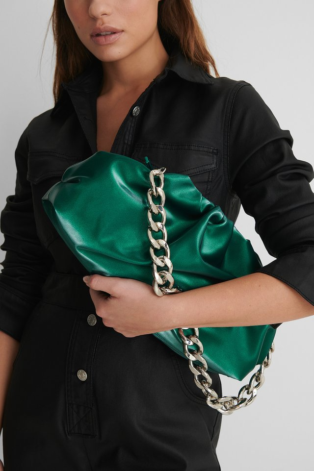 Emerald Green Triangular Pouch Bag