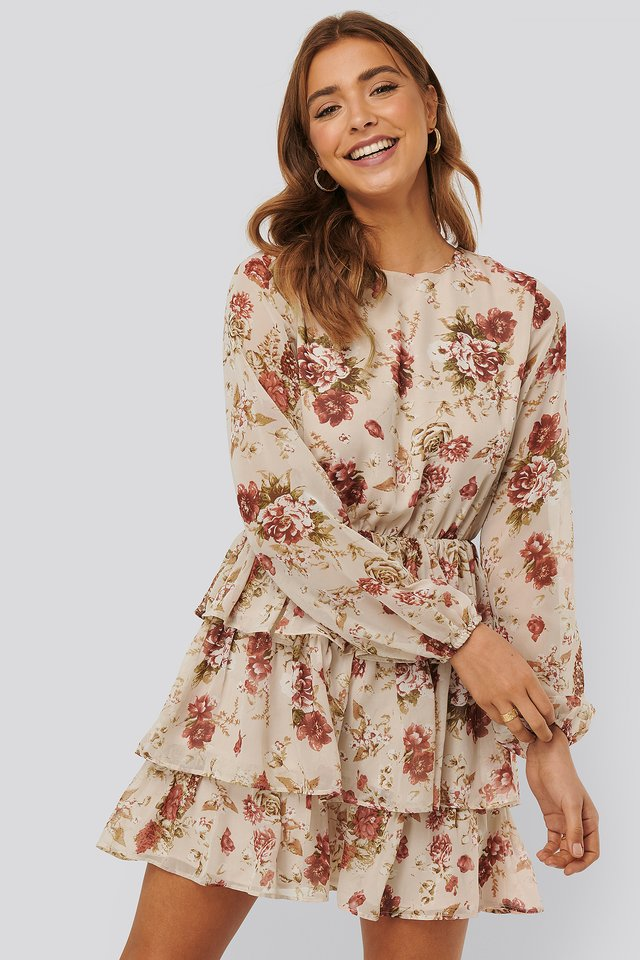 Triple Layer Flounce Mini Dress Creme