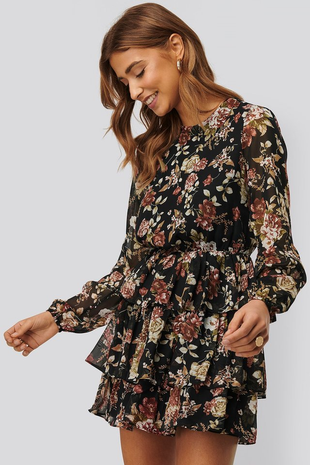 Triple Layer Flounce Mini Dress Black Flower Print