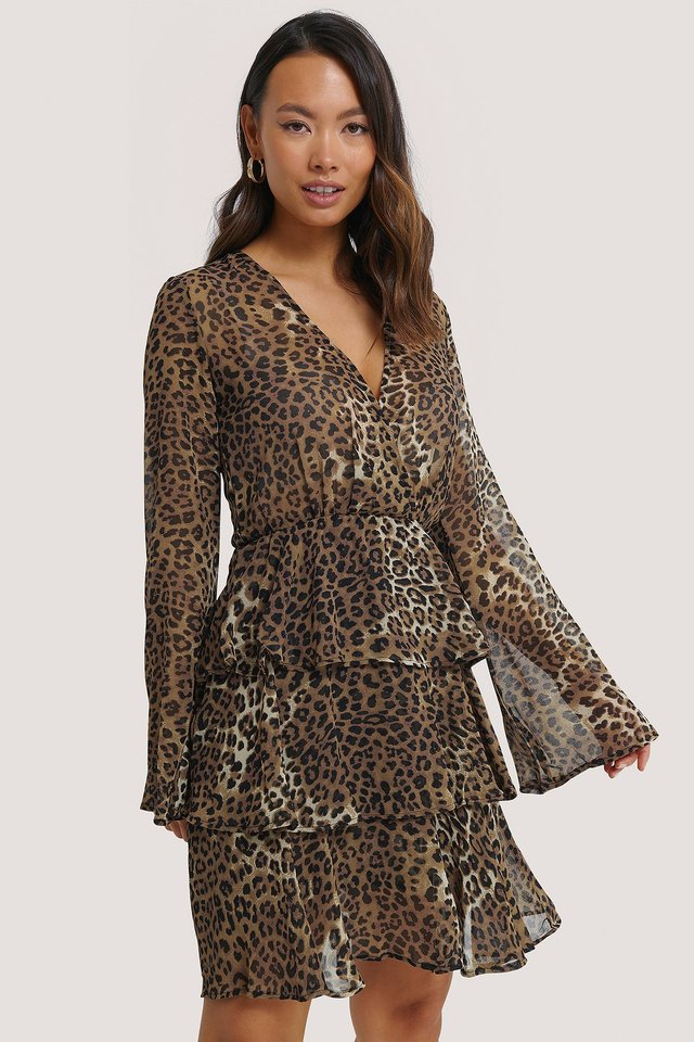 Triple Layer LS Flounce Dress Leoprint
