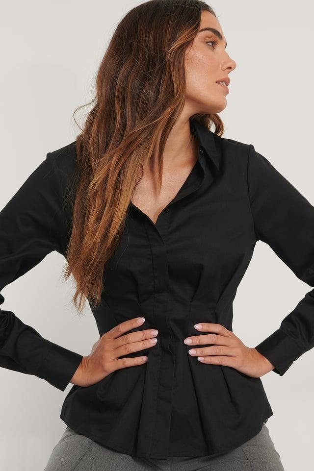 Skjorte Med Markeret Talje Black