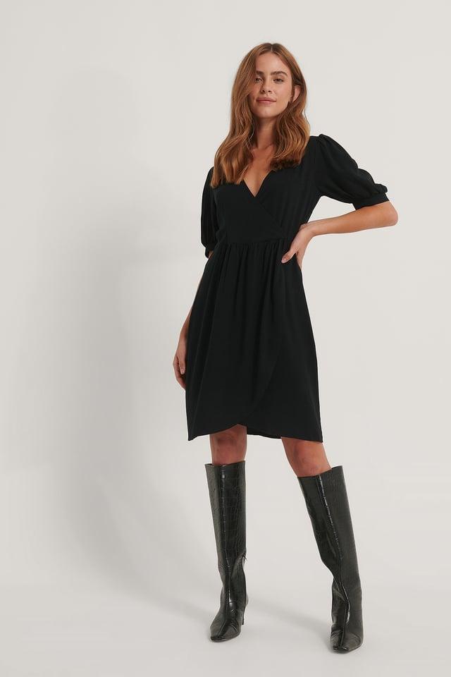 Black Tulip Gathered Sleeve Dress