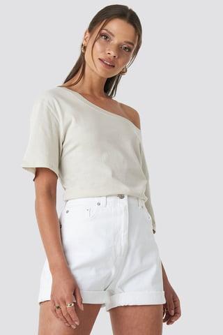 White Turn Up Mom Shorts