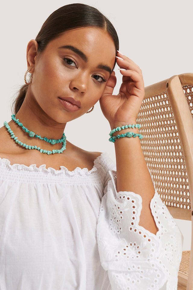 Kurze Doppelte Halskette Mit Schuldplatt-Detail Turquoise