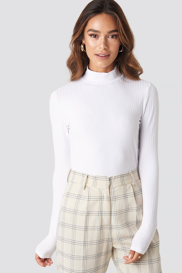 Turtle Neck Long Sleeve Top Optical White