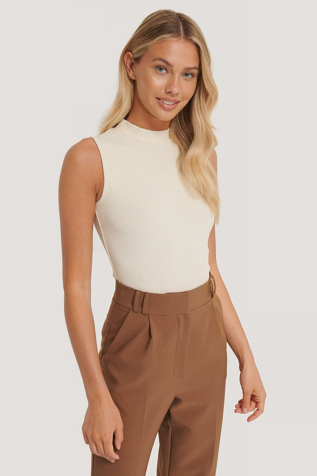 Turtle Neck Sleeveless Top Off White