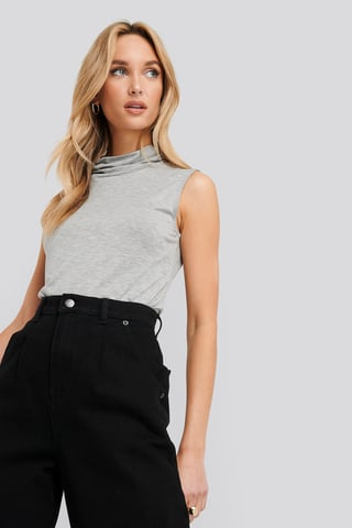 Grey Turtle Neck Sleeveless Ribbed Jersey Top