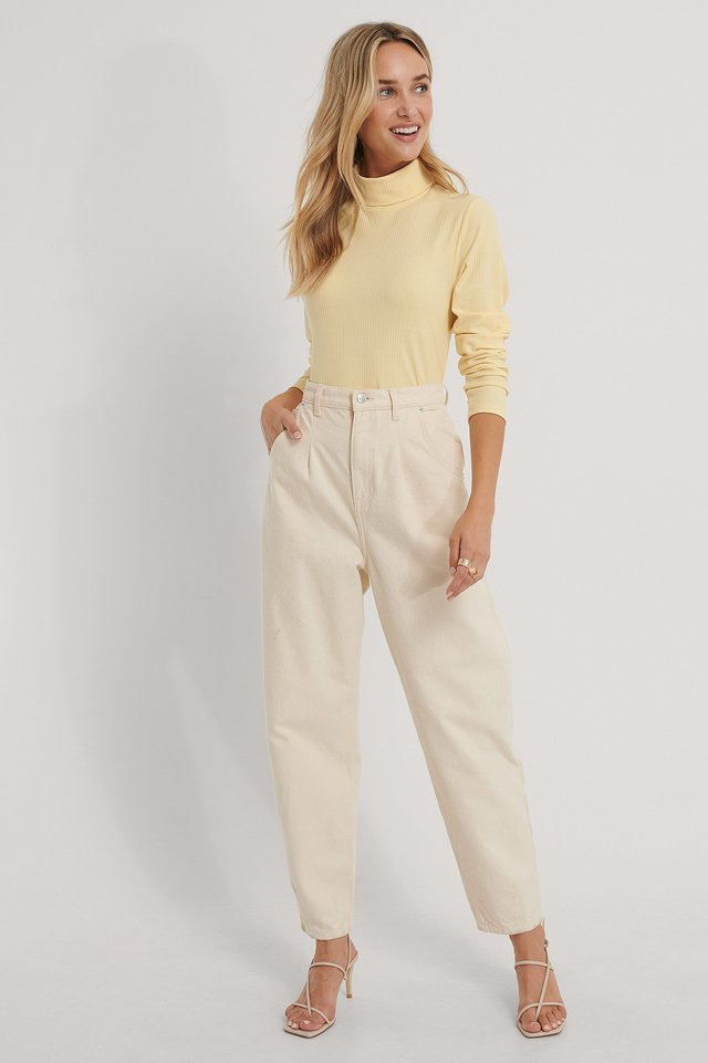 Højhalset Top Dusty Yellow