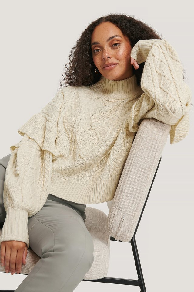 Turtleneck Flounce Knitted Sweater Offwhite
