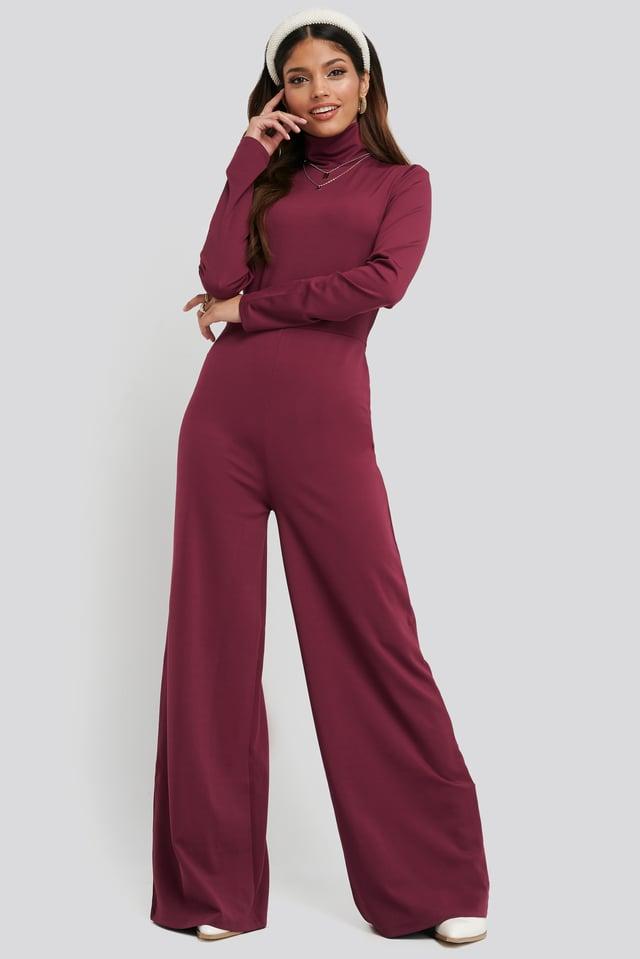 Turtle Neck Long Sleeve Jersey Jumpsuit Dark Pink