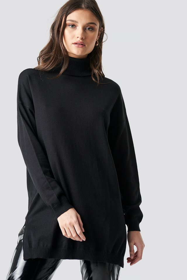 Turtle Neck Long Sweater Black