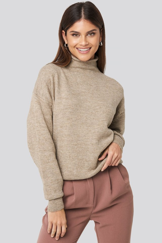Turtleneck Oversized Knitted Sweater Beige