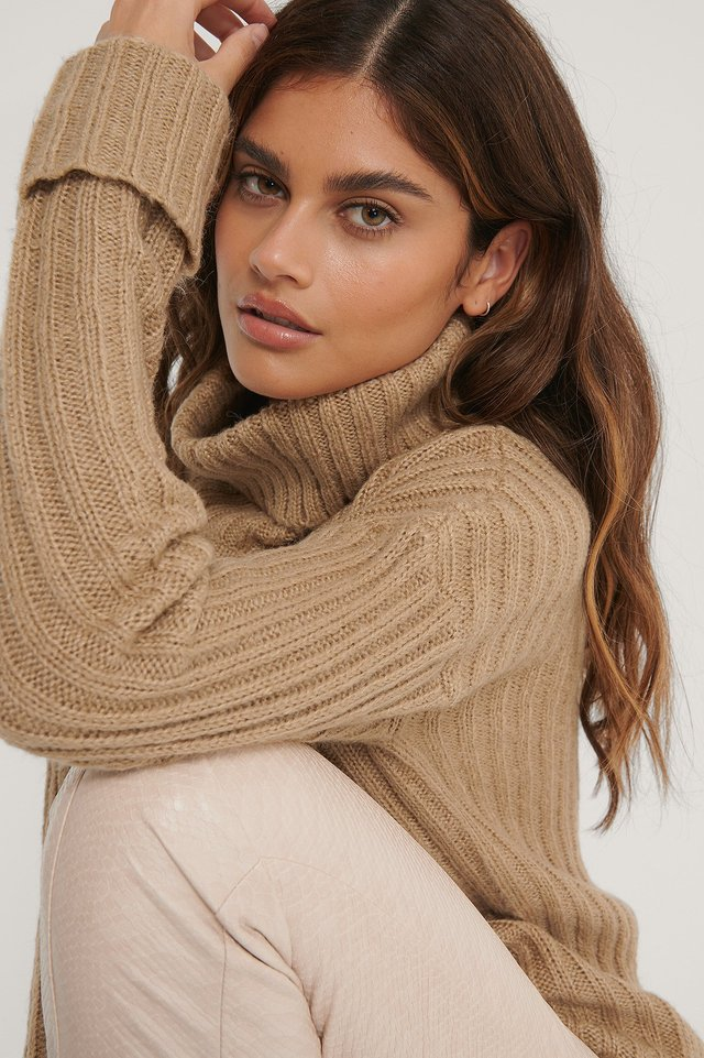 Beige Turtleneck Ribbed Knitted Sweater