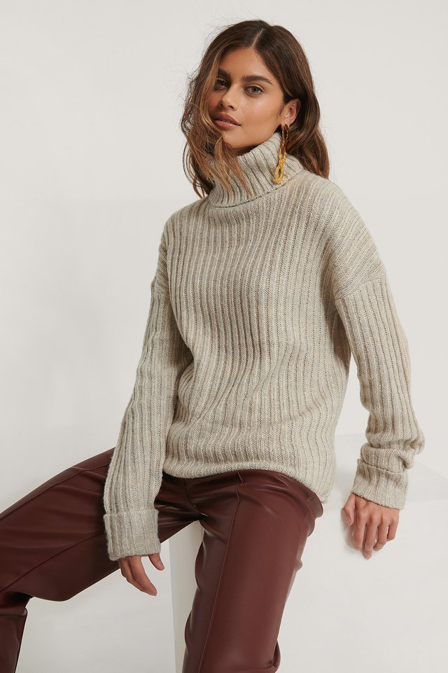 Grey Melange Turtleneck Ribbed Knitted Sweater
