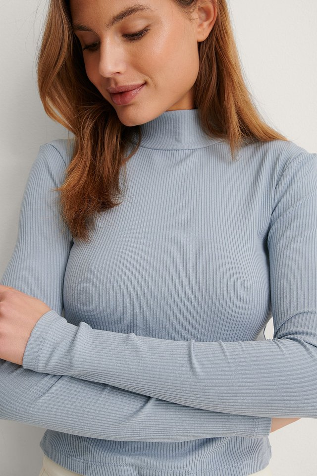 Dusty Blue Turtleneck Ribbed Top