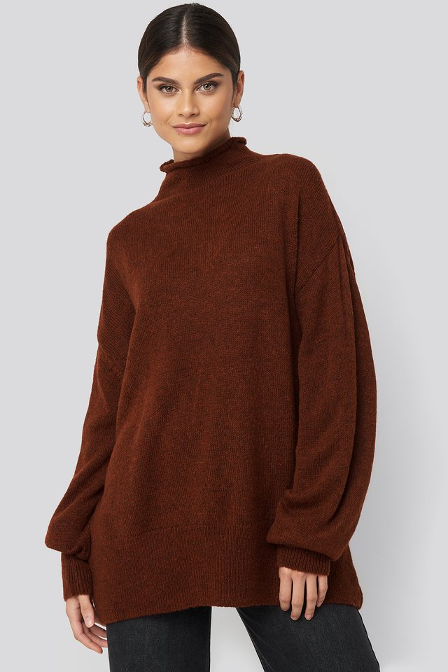 Turtleneck Oversized Knitted Sweater Rust