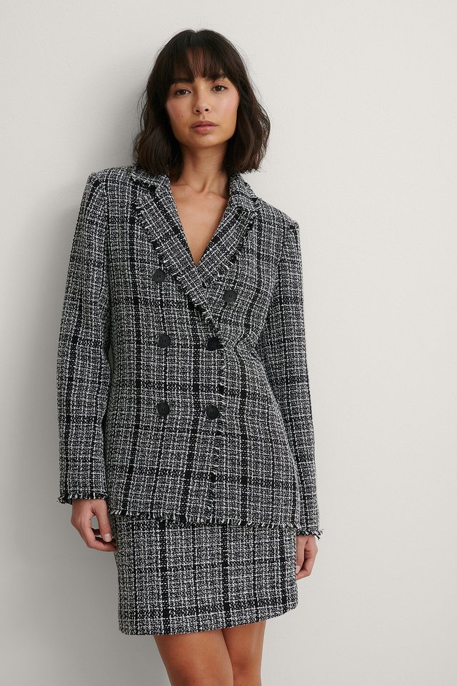Black Check Tweed Blazer
