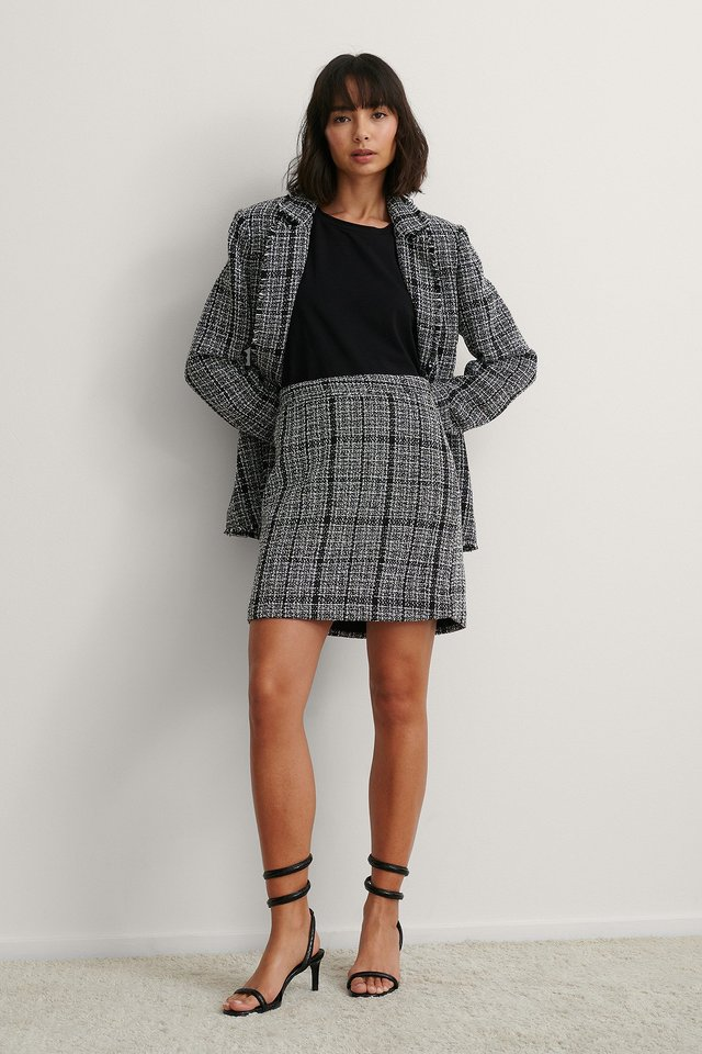 Black Check Miniskjørt I Tweed