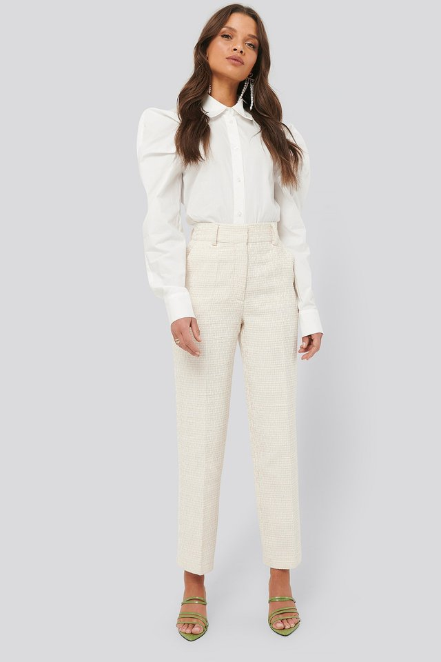 Tweed Suit Pants Cream