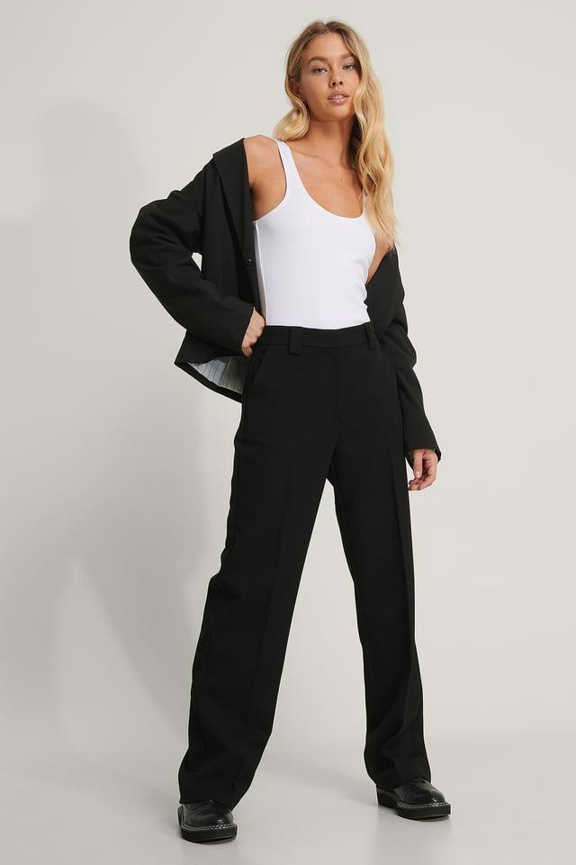 Black Klassiske Dressbukser