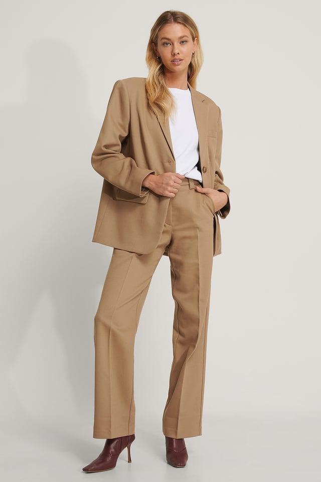Twill Suit Pants Dark Beige