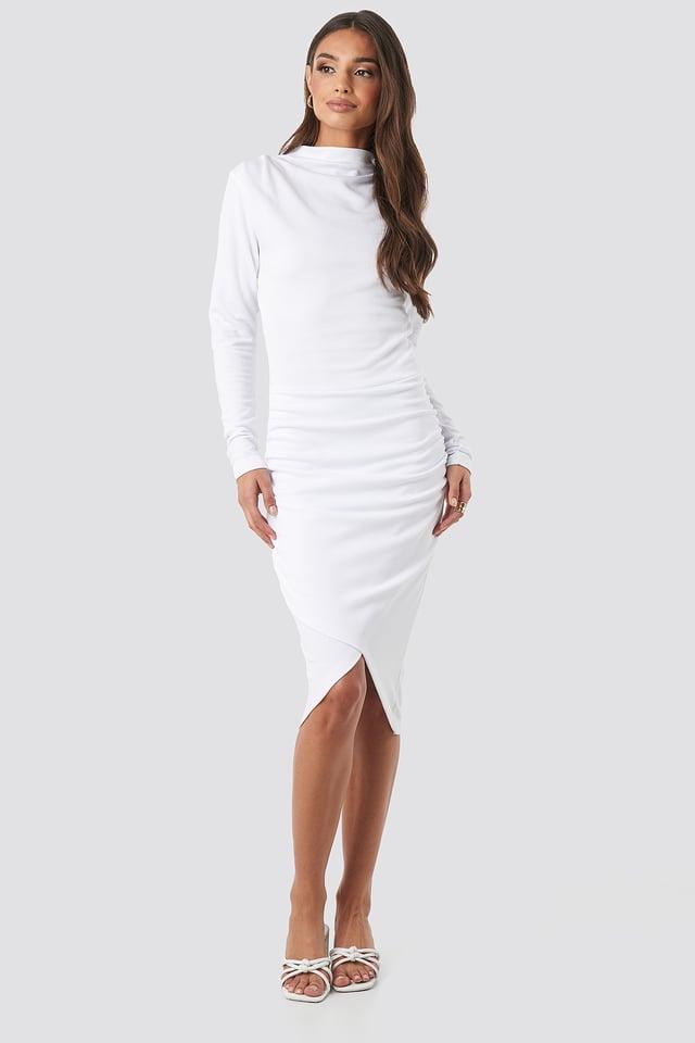 Twist Wrap Dress White
