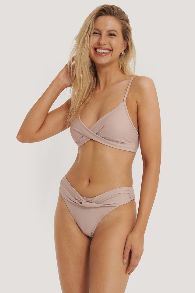 Dusty Rose Twisted Bikini Highcut Bikini Panty