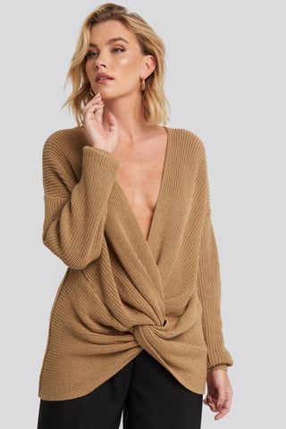 Camel Twisted Front Sweater