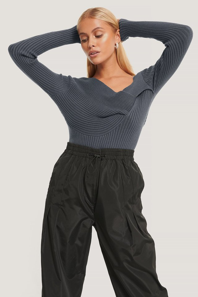 Twisted Front Top Dark Grey