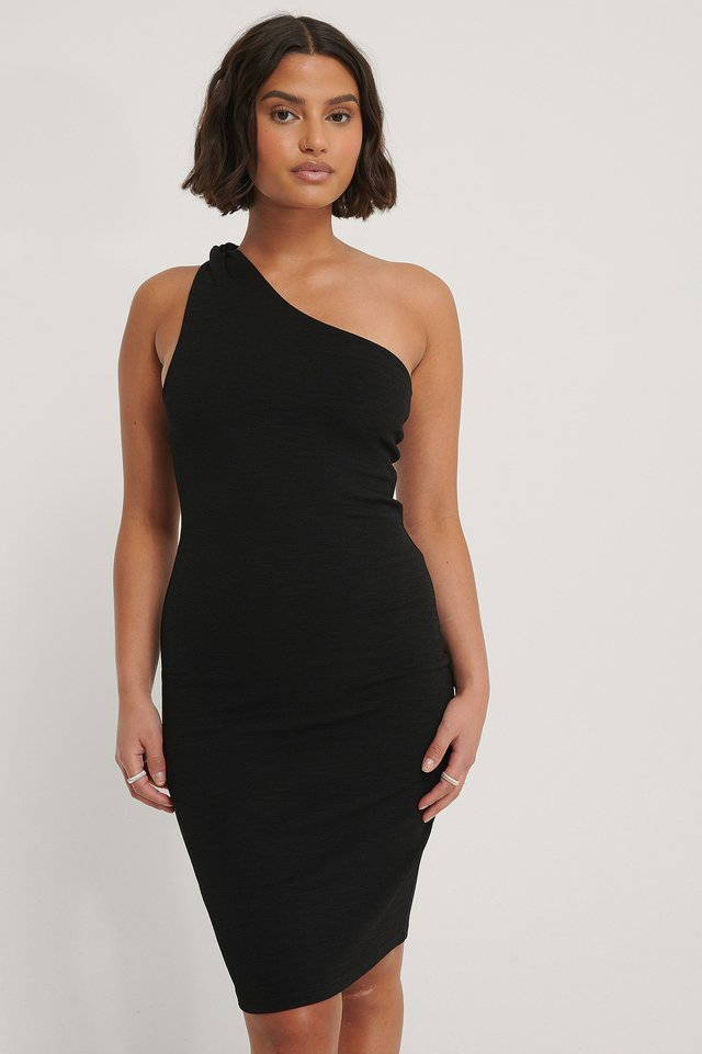 Twisted One Shoulder Dress Black