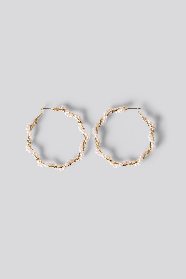 Twisted Pearl Hoop Earrings Gold