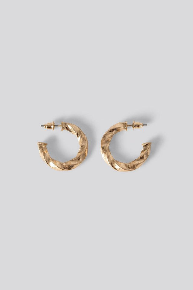 Twisted Round Hoop Earrings NA-KD Accessories