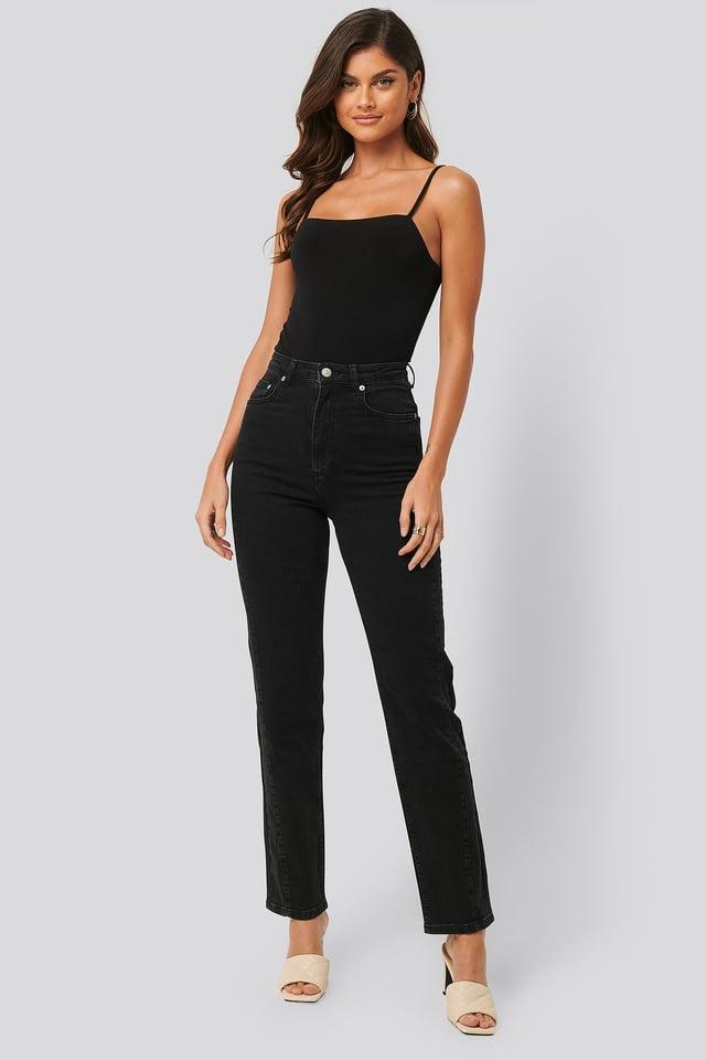 Jeans Med Snoede Sømme Black