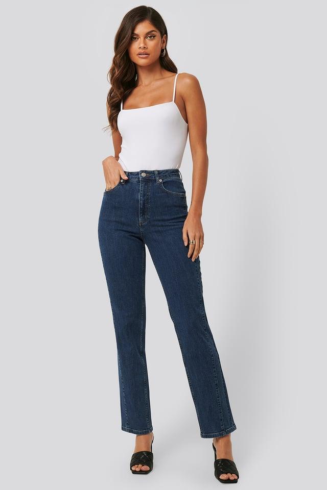 Jeans Med Snoede Sømme Blue