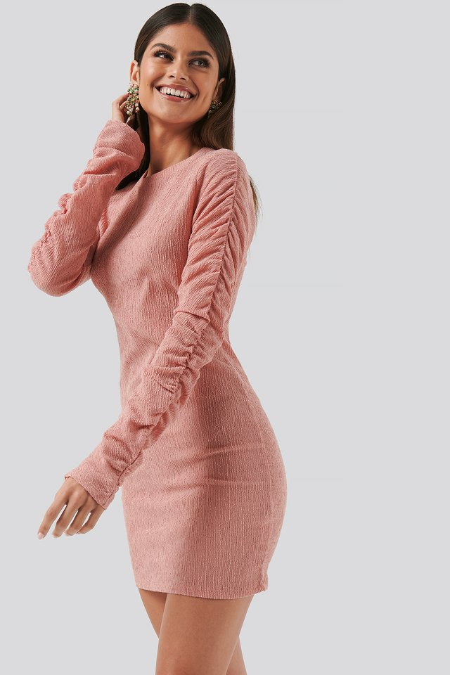 Twisted Sleeve Dress Pink