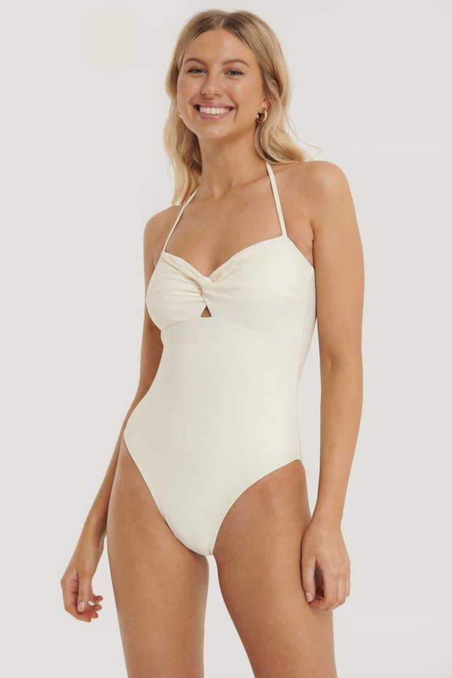 Twisted Strap Swimsuit Offwhite