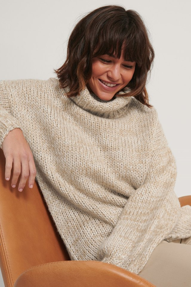 Two Colored High Neck Knitted Sweater Beige