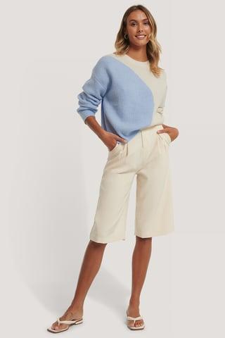 White/Blue Tofarvet Striktrøje