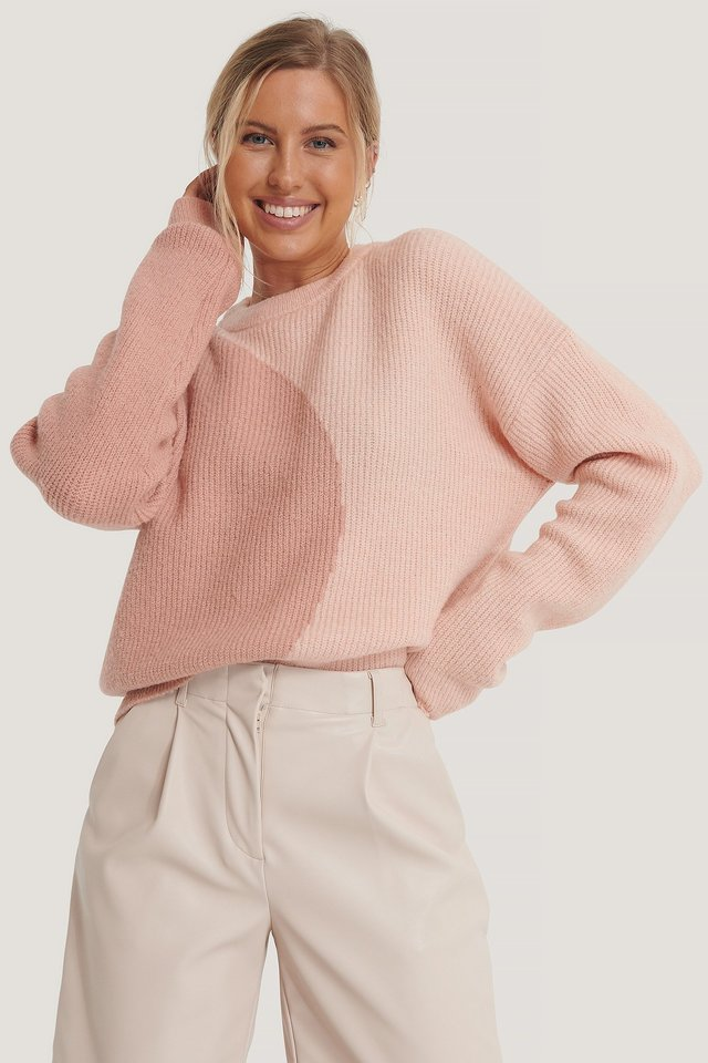 Two Colored Knitted Sweater Pink/Pink