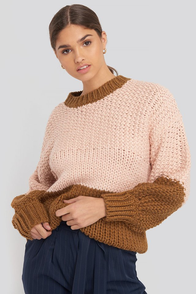Pink Two Coloured Heavy Knitted Sweater