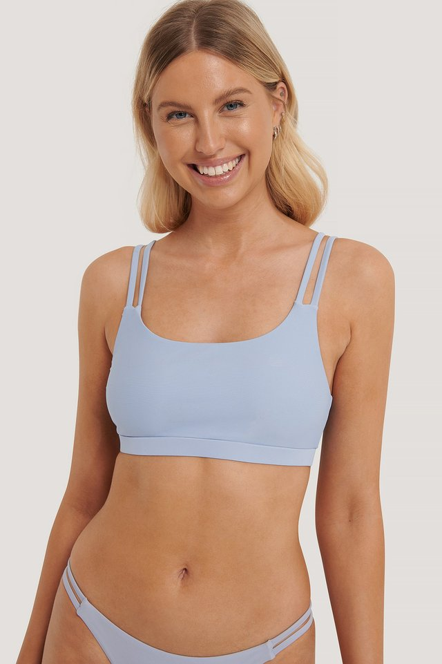 Two Strap Bikini Sport Bra Dusty Blue