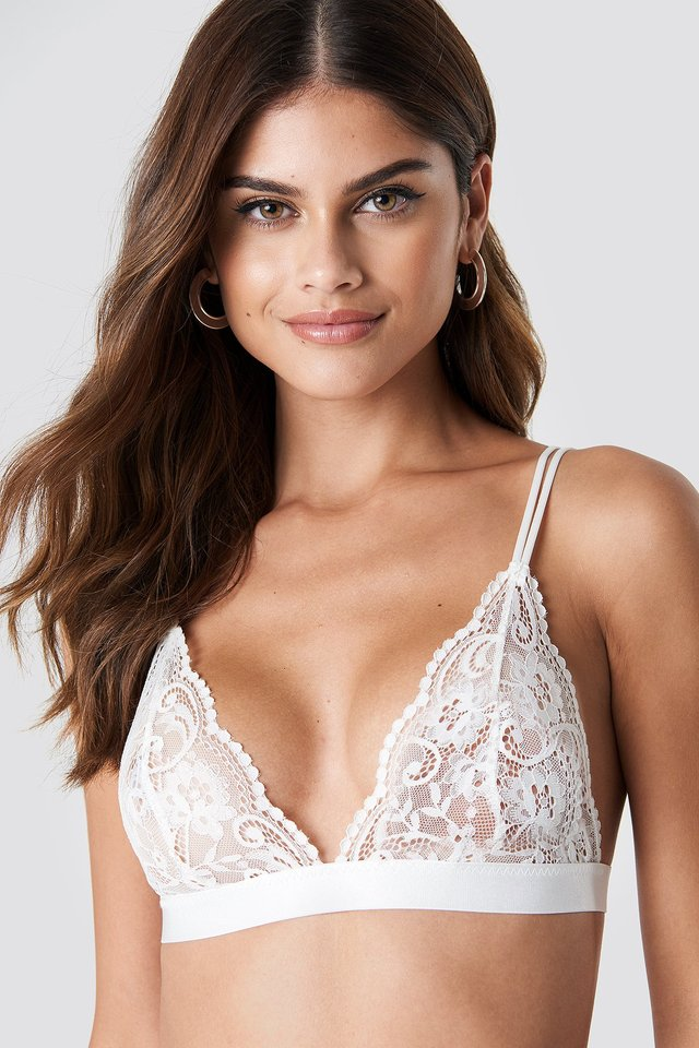 Two Strap Lace Bra White