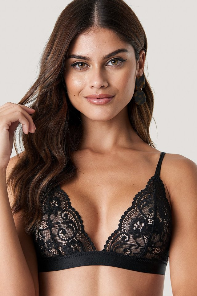 Two Strap Lace Bra Black