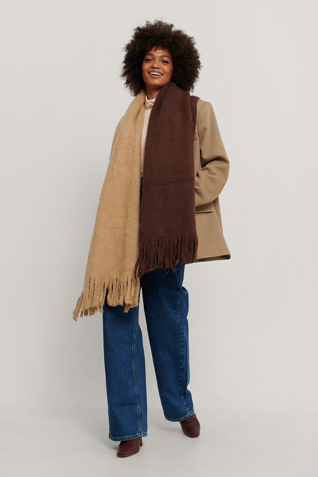 Beige/Brown Two Toned Chunky Scarf