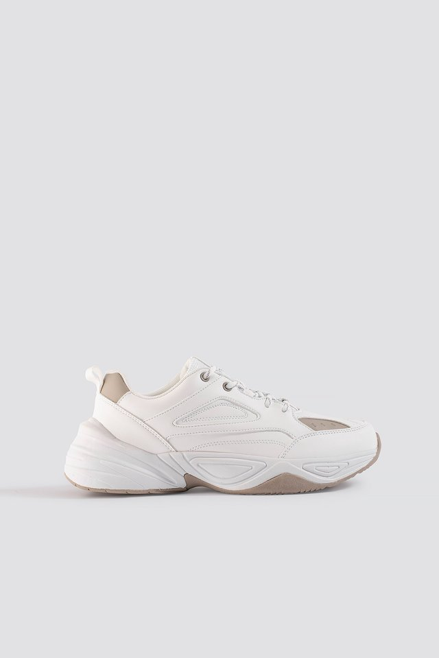 Two Toned Chunky Trainers White/Sand
